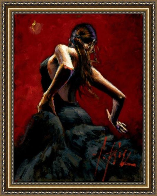 Fabian Perez dancer in red black dress Framed Painting