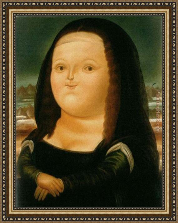 Fernando Botero Monalisa Framed Painting For Sale