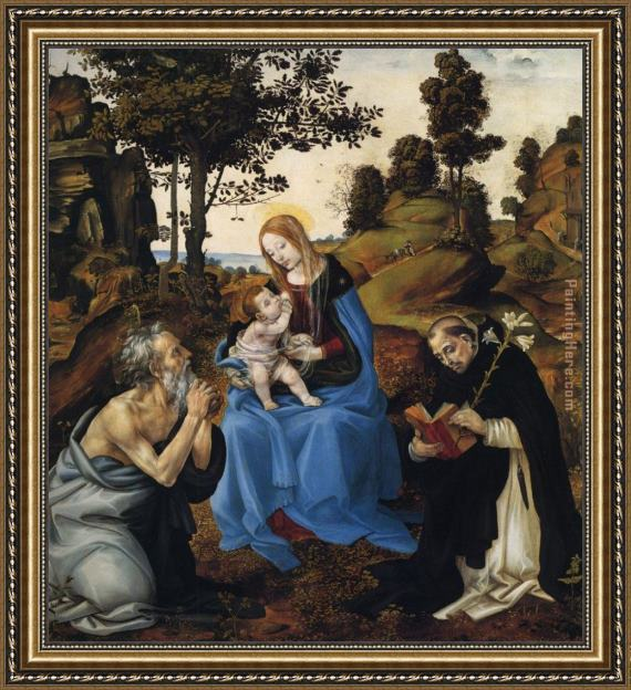 Filippino Lippi The Virgin and Child with Sts Framed Painting