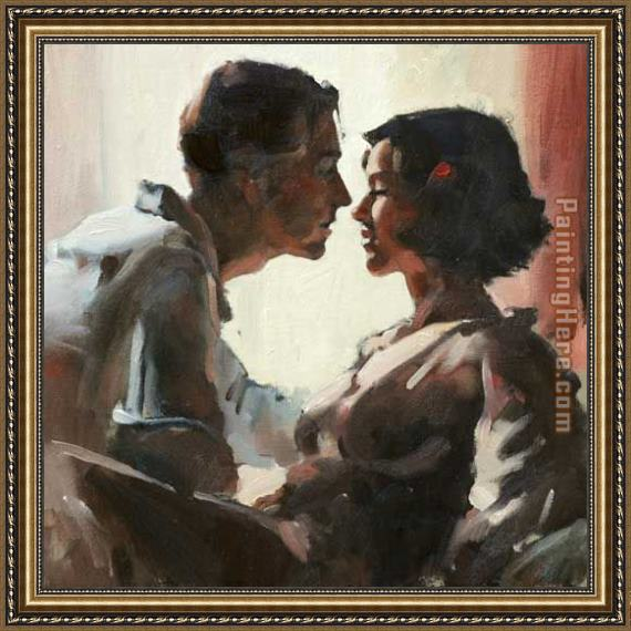 Flamenco Dancer Sealed with a Kiss Framed Painting