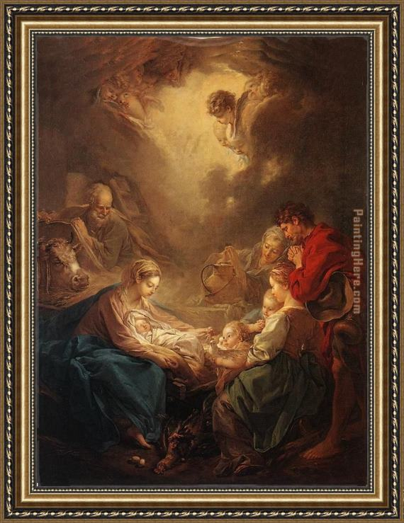 Francois Boucher Adoration of the Shepherds Framed Painting