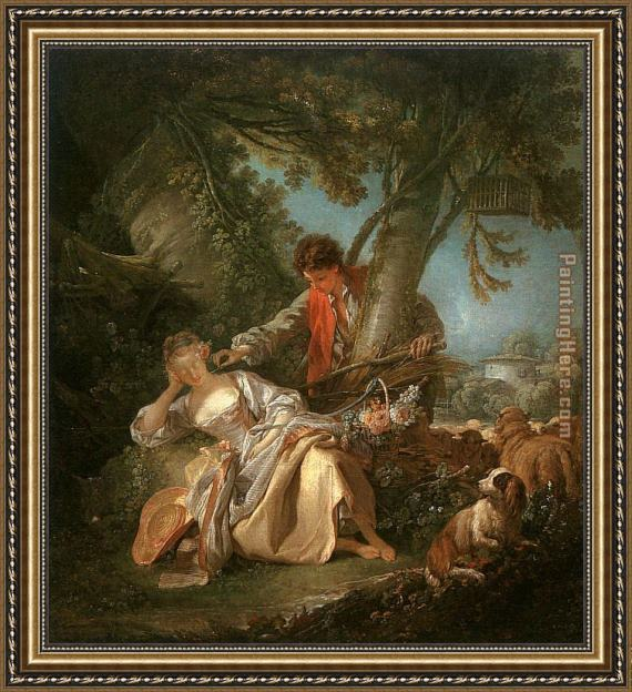 Francois Boucher The Interrupted Sleep Framed Painting