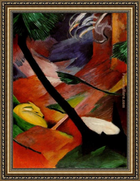 Franz Marc Deer in the Woods II Framed Painting