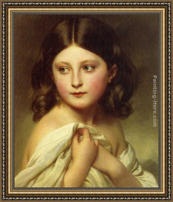 Franz Xavier Winterhalter A Young Girl called Princess Charlotte Framed Painting