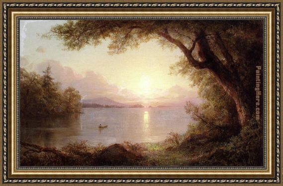 Frederic Edwin Church Landscape in the Adirondacks Framed Painting ...
