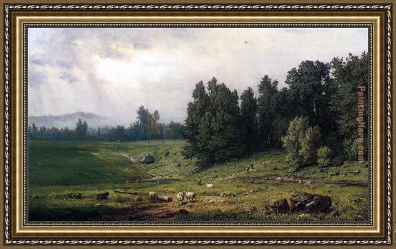 George Inness Landscape with Sheep Framed Painting