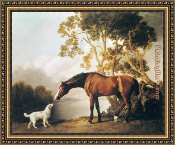 George Stubbs Bay Horse and White Dog Framed Painting for sale ...