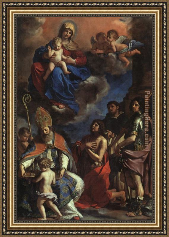 Guercino The Patron Saints of Modena Framed Painting