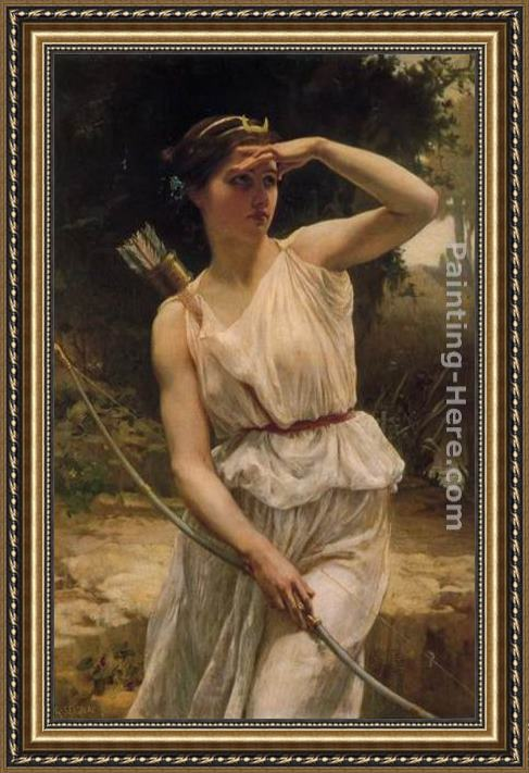 Guillaume Seignac Diana Hunting Framed Painting