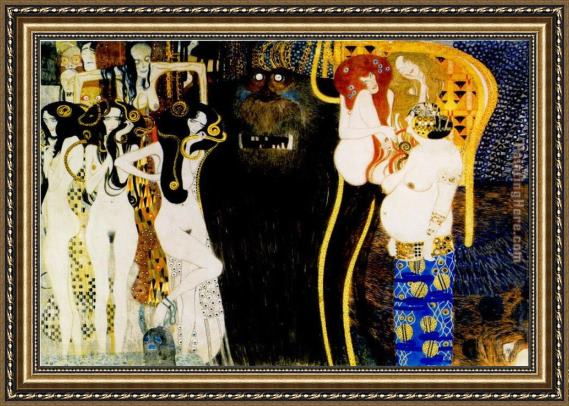 Gustav Klimt Entirety of Beethoven Frieze left5 Framed Painting