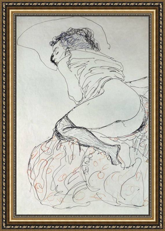 Gustav Klimt Female Nude, Turned to the Left Framed Painting