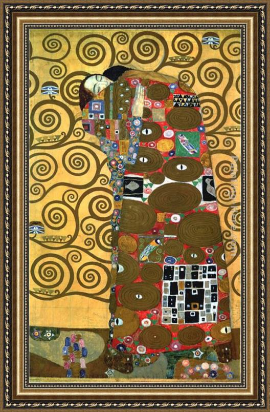 Gustav Klimt Fulfillment,One of the Kiss Panels Framed Painting for ...