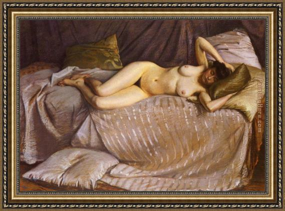 Gustave Caillebotte Naked Woman Lying on a Couch Framed Painting
