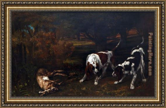 Gustave Courbet Hunting Dogs Framed Painting
