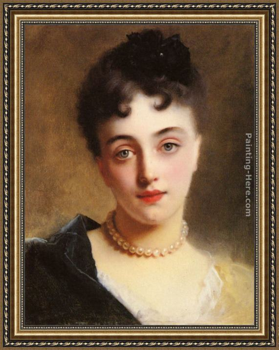 Gustave Jean Jacquet An Elegant Lady with Pearls Framed Painting
