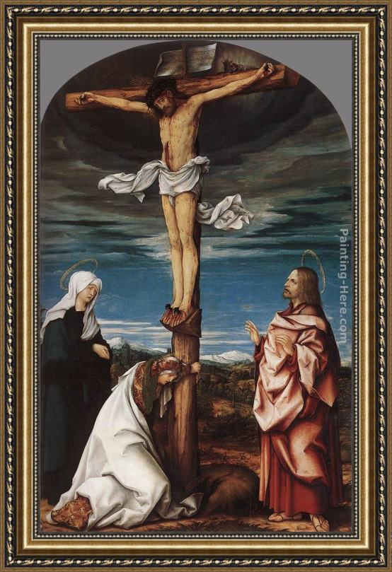 Hans the elder Burgkmair Crucifix with Mary, Mary Magdalen and St John the Evangelist Framed Painting