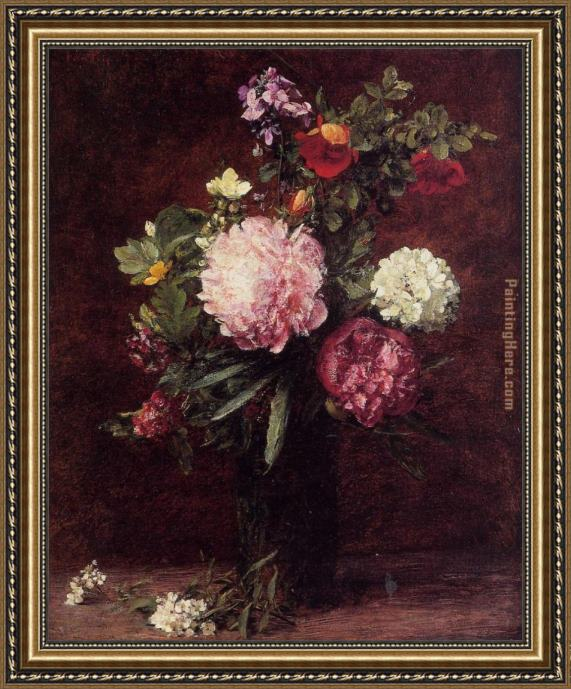 Henri Fantin-Latour Flowers Large Bouquet with Three Peonies Framed Painting