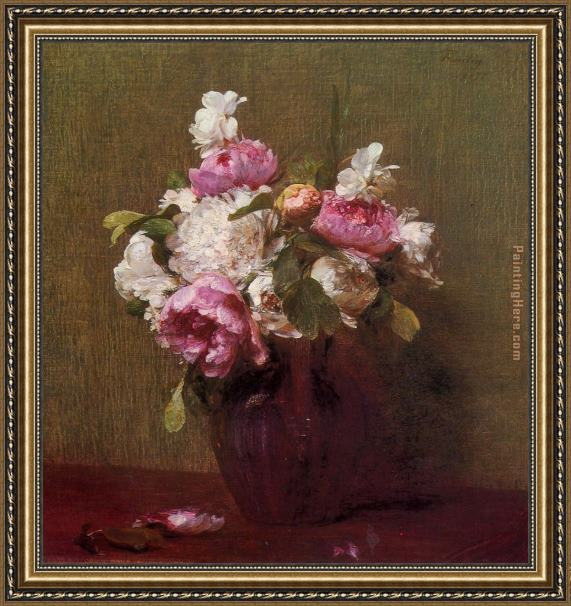 Henri Fantin-Latour White Peonies and Roses Narcissus Framed Painting