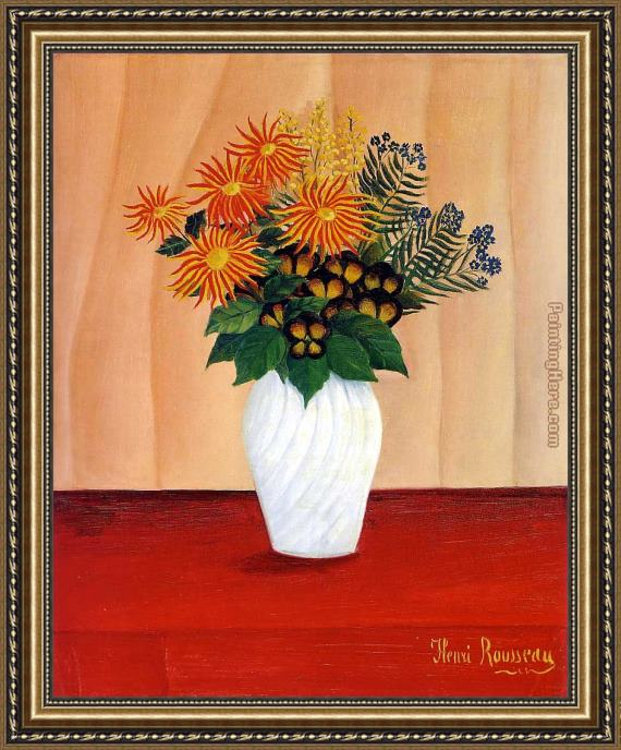 Henri Rousseau Bouquet of Flowers Framed Painting