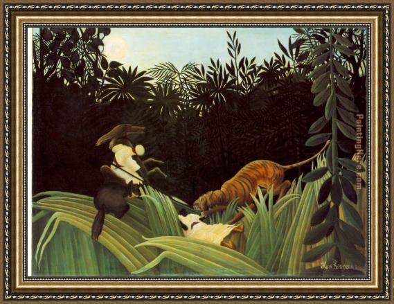 Henri Rousseau Scout Attacked by a Tiger Framed Painting