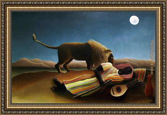 Henri Rousseau The Sleeping Gypsy Framed Painting