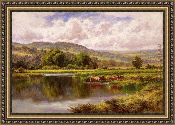 Henry H. Parker The River Mole, Dorking Surrey Framed Painting