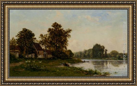 Hippolyte Camille Delpy Washerwoman by the River Framed Painting