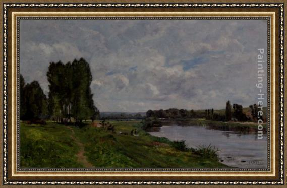 Hippolyte Camille Delpy Washerwoman On The Riverbank Framed Painting