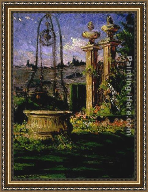 James Carroll Beckwith In the Gardens of the Villa Palmieri Framed Painting
