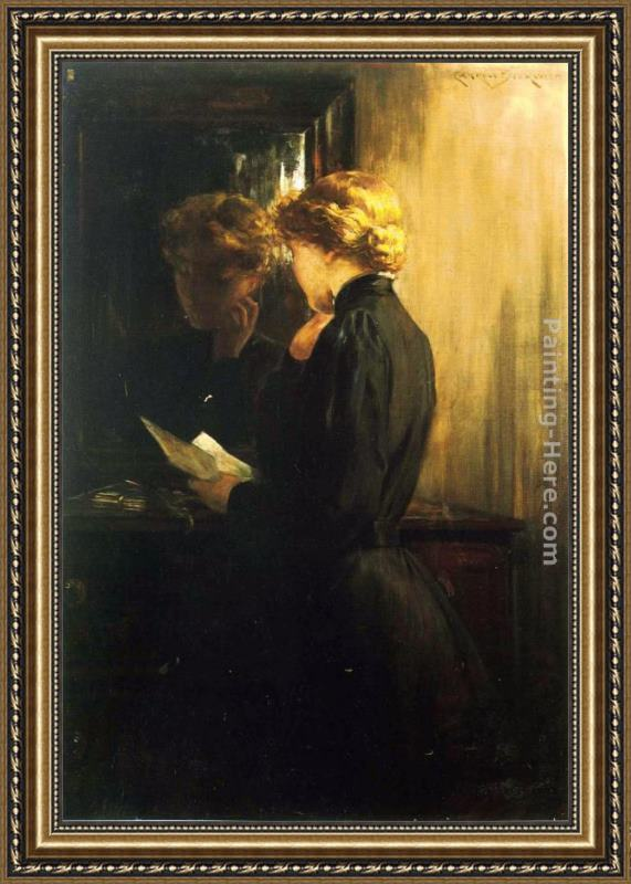 James Carroll Beckwith The Letter Framed Painting