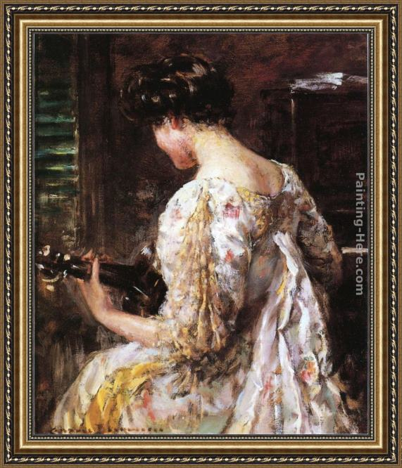 James Carroll Beckwith Woman with Guitar Framed Painting