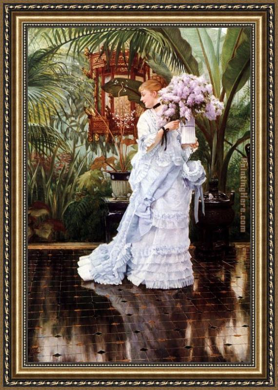 James Jacques Joseph Tissot The Bunch of Lilacs Framed Painting