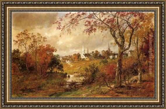 Jasper Francis Cropsey Autumn Landscape - Saugerties, New York Framed Painting