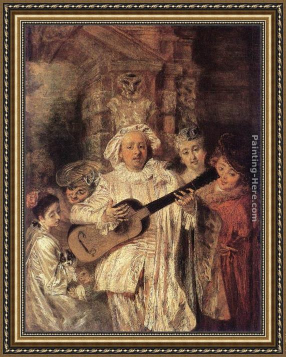 Jean-Antoine Watteau Gilles and his Family Framed Painting