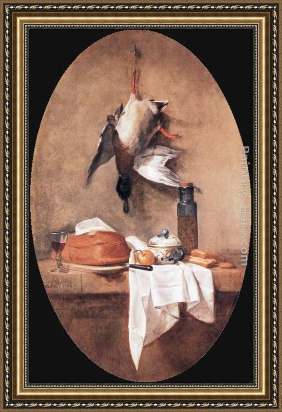 Jean Baptiste Simeon Chardin Wild Duck with Olive Jar Framed Painting