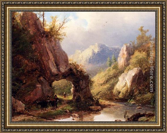 Johann Bernard Klombeck A Mountain Valley With A Peasant And Cattle Passing Along A Stream Framed Painting