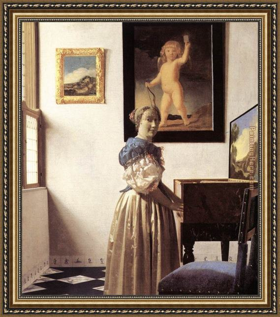 Johannes Vermeer Lady Standing at a Virginal Framed Painting