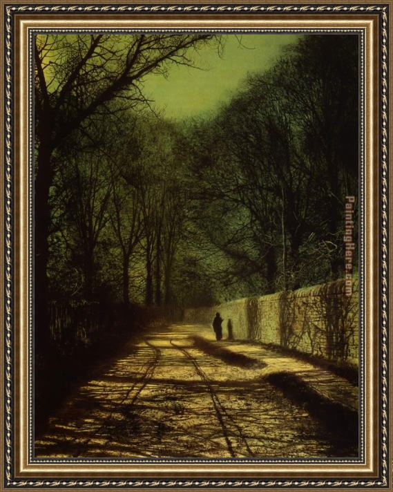 John Atkinson Grimshaw Tree Shadows on the Park Wall Roundhay Park Leeds Framed Painting