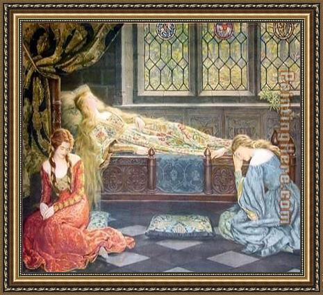 John Collier Sleeping Beauty Framed Painting