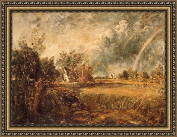 John Constable Cottage,Rainbow,Mill Framed Painting