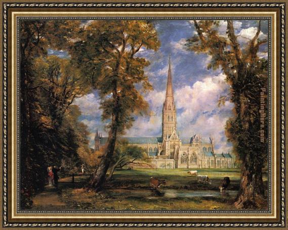 John Constable Salisbury Cathedral from the Bishops' Grounds Framed Painting