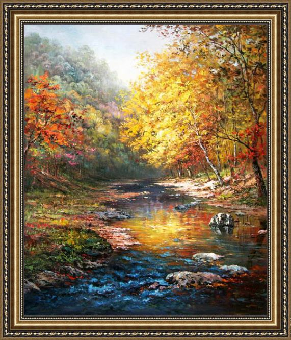 John Ottis Adams Beautiful trees with a quiet river Framed Painting