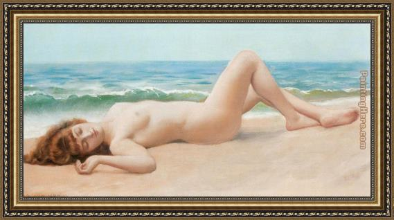 John William Godward Nu Sur La Plage Framed Painting
