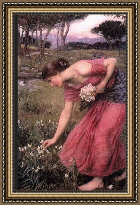 John William Waterhouse Waterhouse Narcissus Framed Painting
