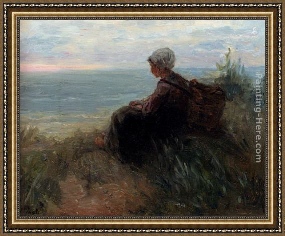 Jozef Israels A Fishergirl On A Dunetop Overlooking The Sea Framed Painting