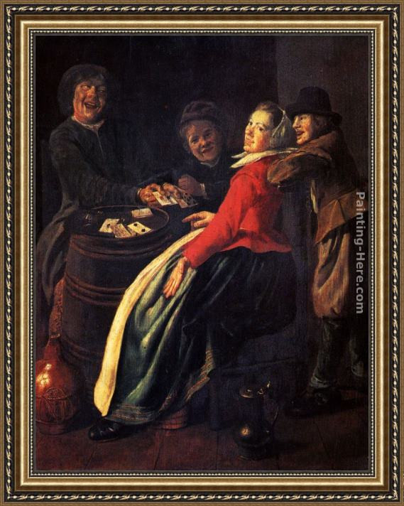 Judith Leyster A Game Of Cards Framed Painting for sale
