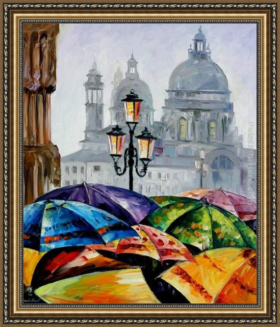 Leonid Afremov RAINY DAY IN VENICE Framed Painting