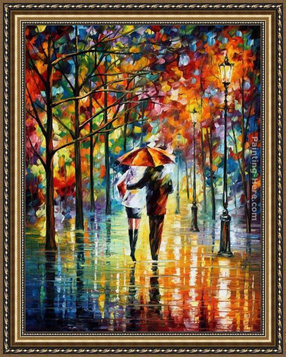 leonid afremov under the red umbrella framed painting