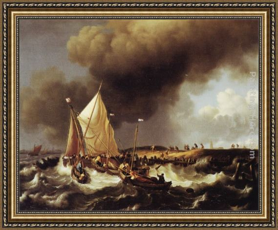 Ludolf Backhuysen Boats in a Storm Framed Painting