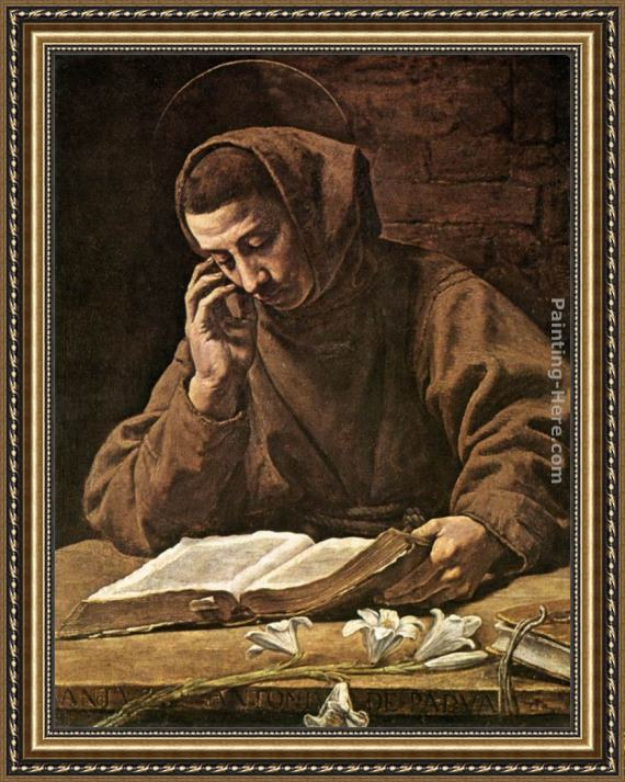 Marcantonio Bassetti St Antony Reading Framed Painting